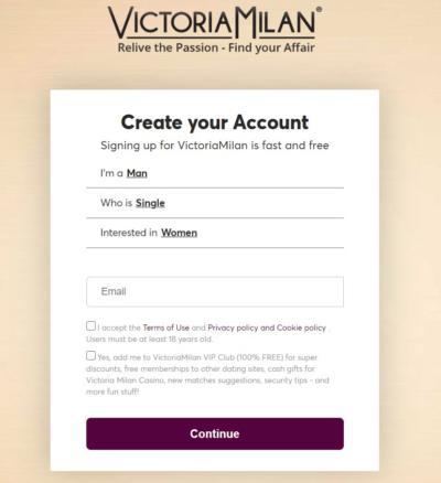Victoria Milan - Register