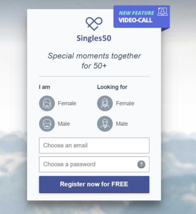 Singles50 review - Registration 1